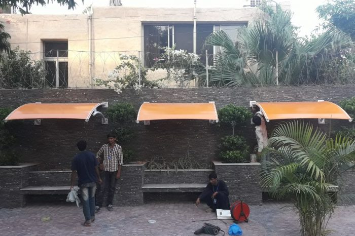 American School waiting Area tensile fabric shade